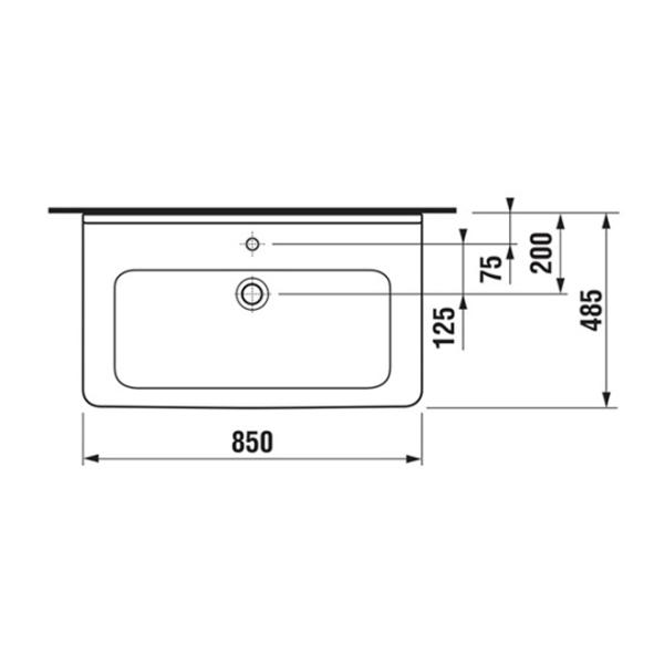 delphis unic Waschtisch 1 HL m ÜL 850x485mm weiß delphisClean