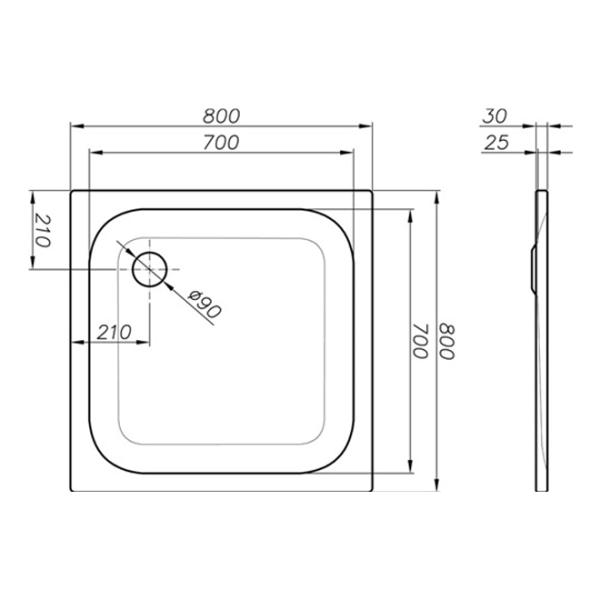 delphis Duschwanne Ablaufl. d= 90 Stahl/E. 800x800x25mm we