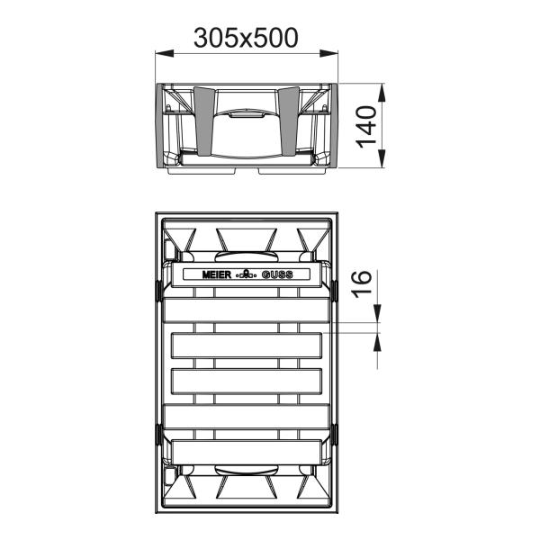 Straßenablauf Aufsatz Pultform Klasse D Längsbord mit Einlauf 16mm