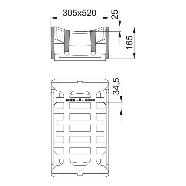 Straßenablauf Aufsatz Rinnenform Klasse D mit Einlage 34,5mm