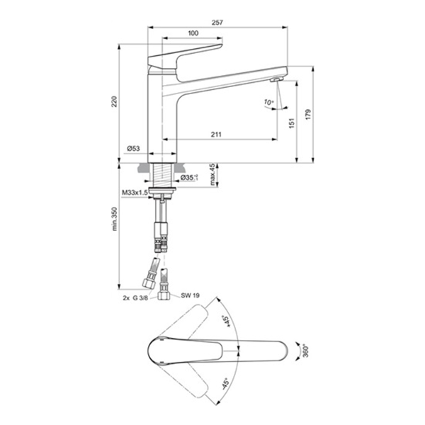 delphis unic Spültisch-Einhandmischer Ausladung 211mm chr