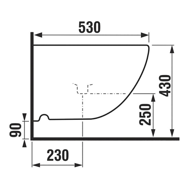delphis unic Wand-Bidet 1 HL m ÜL m Befest 530x360mm we dC