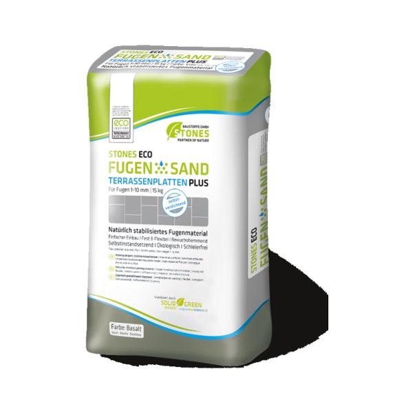 Stones Eco Verfugungsmaterial Fugensand für Terassenplatten Plus basalt 15kg