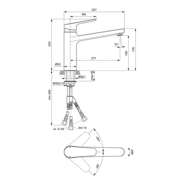 delphis unic Spültisch-Einhandmischer Ausladung 211mm Niederdruck chr